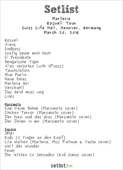 Marteria Setlist Swiss Life Hall, Hanover, Germany 2018, Roswell Tour