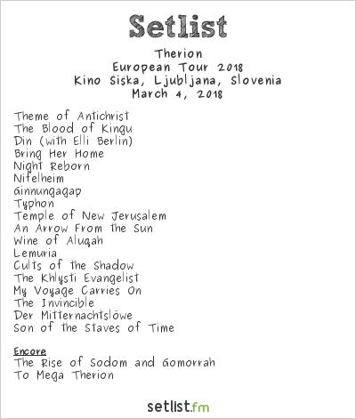Therion Setlist Kino Šiška, Ljubljana, Slovenia, European Tour 2018
