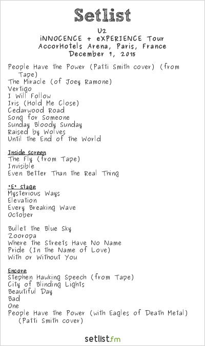 U2 Setlist Accorhotels Arena  Paris  France 2015  Innocence   Experience Tour Widgets