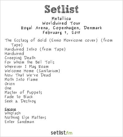 Metallica Setlist Royal Arena, Copenhagen, Denmark 2017, WorldWired Tour