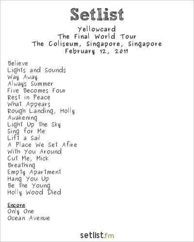 Yellowcard Tour Setlist