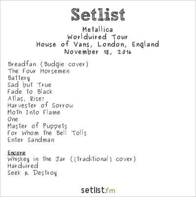 Metallica Setlist House of Vans, London, England 2016