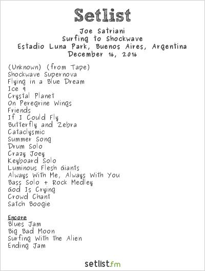 Joe Satriani Setlist Estadio Luna Park, Buenos Aires, Argentina 2016, Surfing to Shockwave