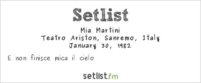 Mia Martini at Festival della Canzone Italiana di Sanremo 1982 Setlist