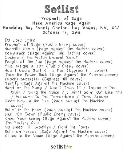 Prophets of Rage at Mandalay Bay Events Center, Las Vegas, NV, USA Setlist