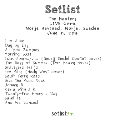 The Hooters Setlist Sweden Rock Festival 2016 2016, LIVE 20+16
