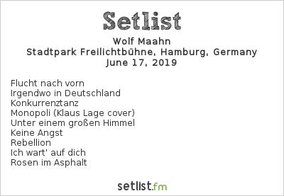 Wolf Maahn Setlist Stadtpark Freilichtbühne, Hamburg, Germany 2019