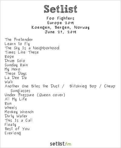 Foo Fighters Setlist Koengen, Bergen, Norway, Europe 2019