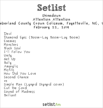 Shinedown Setlist Cumberland County Crown Coliseum, Fayetteville, NC, USA 2019, Attention Attention