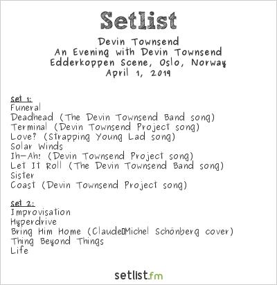 Devin Townsend Setlist Edderkoppen Scene, Oslo, Norway 2019, An Evening with Devin Townsend