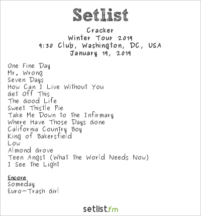 Cracker Setlist 9:30 Club, Washington, DC, USA 2019