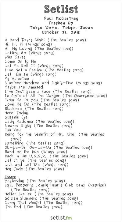 Paul McCartney Setlist Tokyo Dome, Tokyo, Japan 2018, Freshen Up