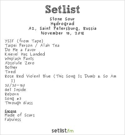 Stone Sour Setlist A2, Saint-Petersburg, Russia 2018, Hydrograd