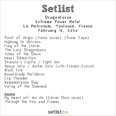 DragonForce Setlist Le Metronum, Toulouse, France 2020, Extreme Power Metal