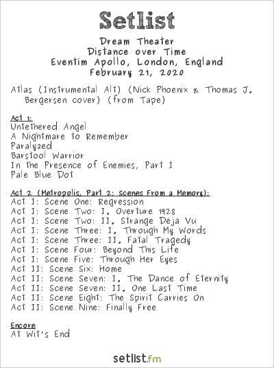 Dream Theater Setlist Eventim Apollo, London, England 2020, Distance over Time