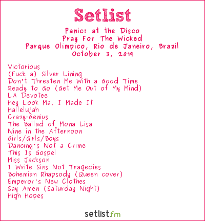 Panic! at the Disco Setlist Rock in Rio 2019 2019