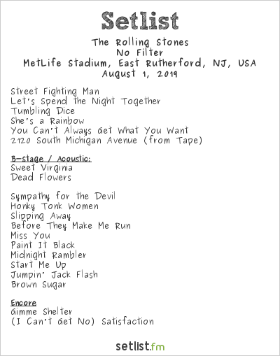The Rolling Stones Setlist MetLife Stadium, East Rutherford, NJ, USA 2019, No Filter
