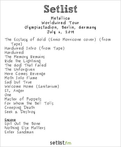Metallica Setlist Olympiastadion, Berlin, Germany 2019, Worldwired Tour