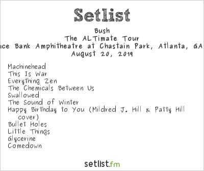 Bush Setlist Cadence Bank Amphitheatre at Chastain Park, Atlanta, GA, USA 2019, The ALTimate Tour