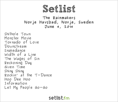 The Rainmakers Setlist Sweden Rock Festival 2014 2014