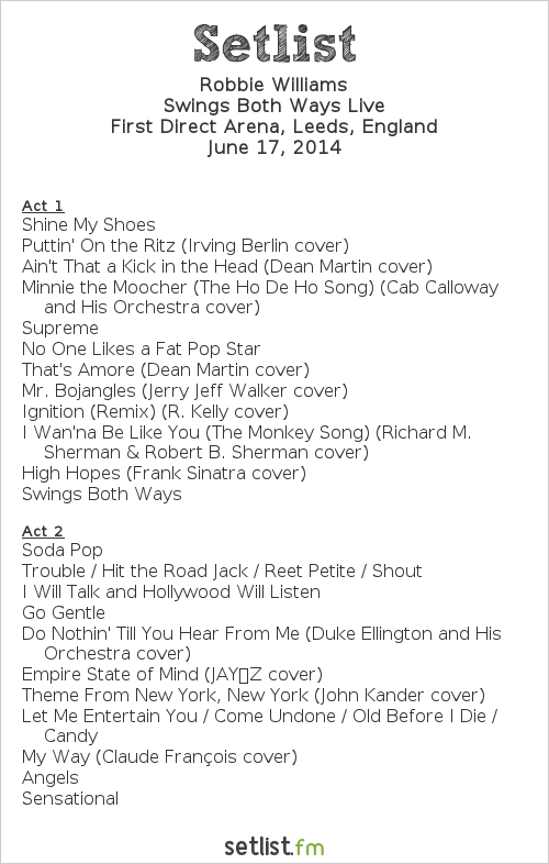 Robbie Williams Setlist First Direct Arena, Leeds, England 2014, Swings Both Ways Live
