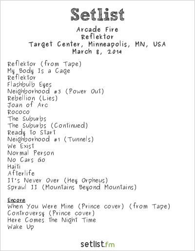 Arcade Fire Setlist Target Center, Minneapolis, MN, USA 2014, Reflektor