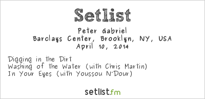 Peter Gabriel Setlist Rock and Roll Hall of Fame Induction Ceremony #29 2014