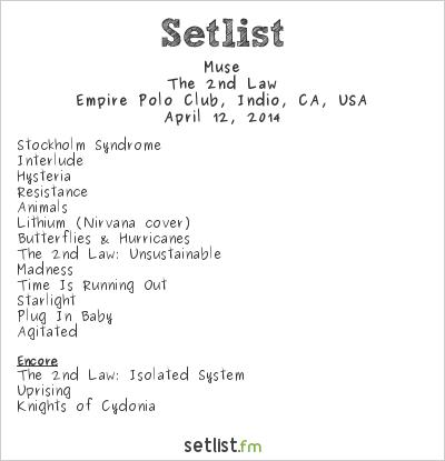 Muse Setlist Coachella Festival 2014 2014