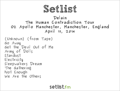 Delain Setlist O2 Apollo Manchester, Manchester, England 2014, The Human Contradiction Tour