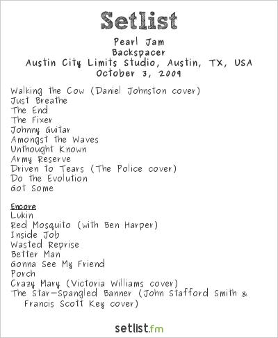 Pearl Jam Setlist Austin City Limits Studio, Austin, TX, USA 2009, Backspacer