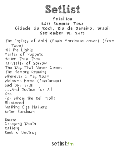 Metallica Setlist Rock In Rio 5 2013, 2013 Summer Tour