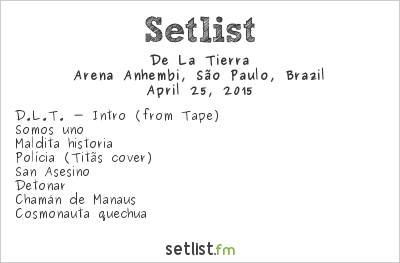 De La Tierra Setlist Monsters of Rock Brazil 2015 2015