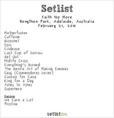 Faith No More Setlist Soundwave Adelaide 2015 2015