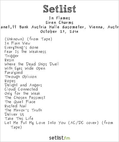 In Flames Setlist Planet.tt Bank Austria Halle Gasometer, Vienna, Austria 2014, Siren Charms
