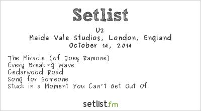 U2 Setlist Maida Vale Studios, London, England 2014