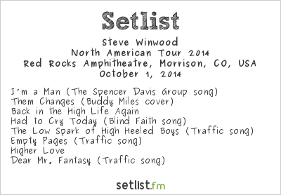 Steve Winwood Setlist Red Rocks Amphitheatre, Morrison, CO, USA 2014, Tour with Tom Petty