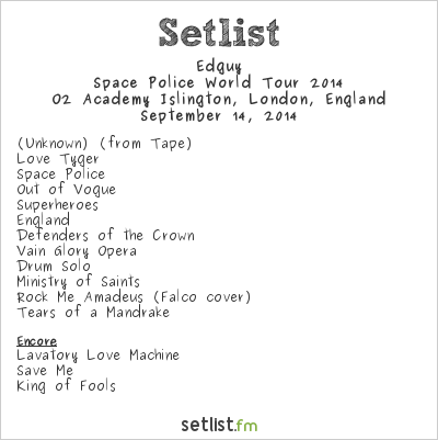 Edguy Setlist O2 Academy Islington, London, England, Space Police World Tour 2014