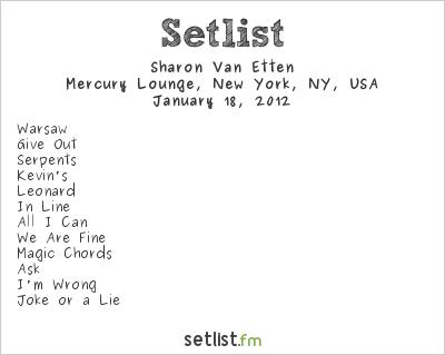 Sharon Van Etten Setlist Mercury Lounge, New York, NY, USA 2012
