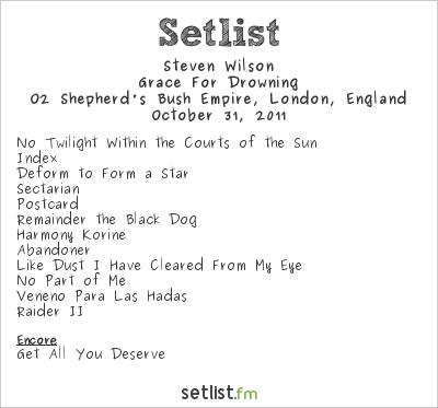 Steven Wilson Setlist Shepherd's Bush Empire, London, England 2011, Grace for Drowning