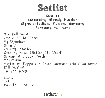 Sum 41 Setlist Olympiastadion, Munich, Germany 2011, Screaming Bloody Murder Pre-tour