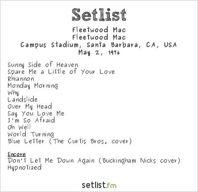 Fleetwood Mac Setlist Campus Stadium, Santa Barbara, CA, USA 1976