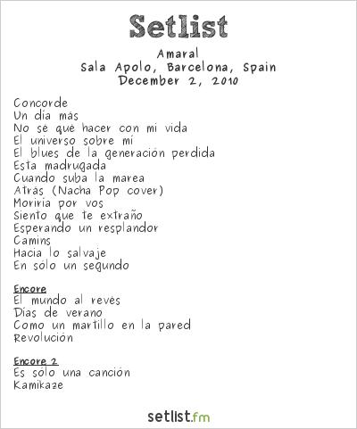 Amaral Setlist Sala Apolo, Barcelona, Spain 2010