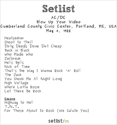 AC/DC Setlist Cumberland County Civic Center, Portland, ME, USA 1988, Blow Up Your Video