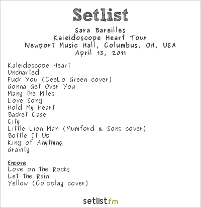 Sara Bareilles Setlist Newport Music Hall, Columbus, OH, USA 2011, Kaleidoscope Heart Tour