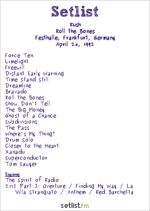 Rush Setlist Festhalle, Frankfurt, Germany 1992, Roll the Bones