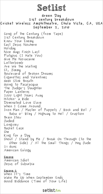 Green Day Setlist Cricket Wireless Amphitheatre, Chula Vista, CA, USA 2010, 21st Century Breakdown World Tour