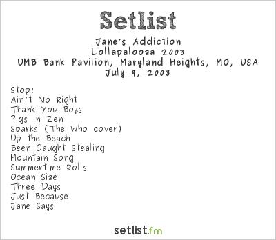 Jane's Addiction at UMB Bank Pavilion, Maryland Heights, MO, USA Setlist