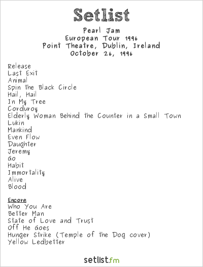 Pearl Jam Setlist Point Theatre, Dublin, Ireland, European Tour 1996