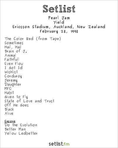 Pearl Jam Setlist Ericsson Stadium, Auckland, New Zealand 1998, Yield