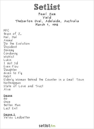Pearl Jam Setlist Thebarton Oval, Adelaide, Australia 1998, Yield